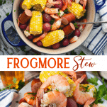 Long collage image of Frogmore Stew