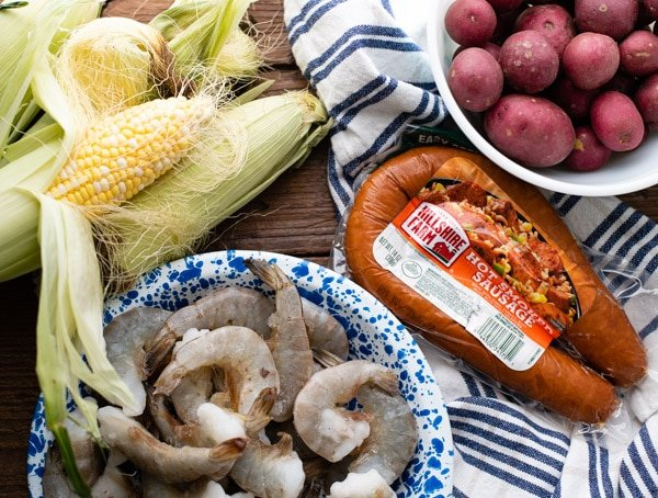 Ingredients for authentic Frogmore Stew