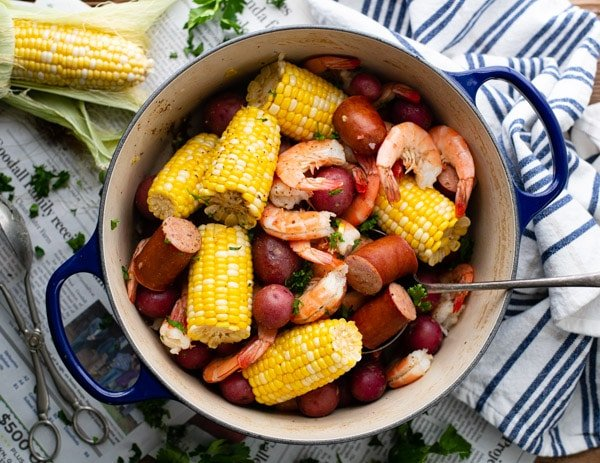 Horizontal overhead shot of Frogmore Stew in a stockpot