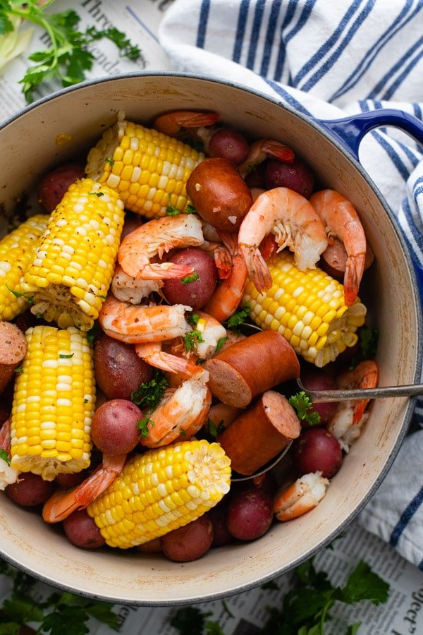 Overhead shot of a pot of the best Frogmore Stew recipe