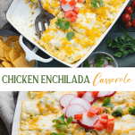 Long collage image of green chicken enchilada casserole
