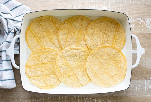 Corn tortillas in a white dish