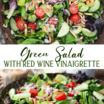 Long collage image of Green Salad with red wine vinaigrette
