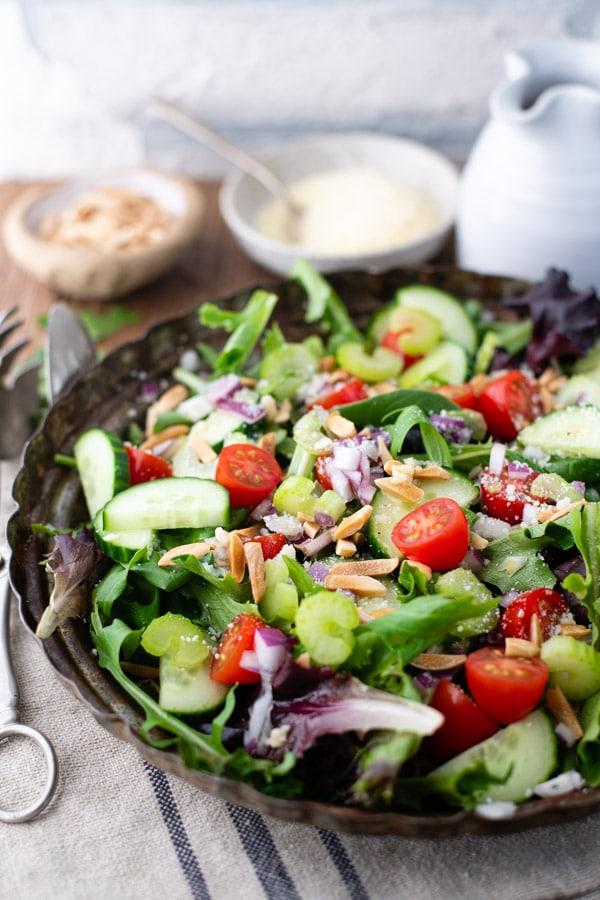 Close up side shot of a mixed green salad