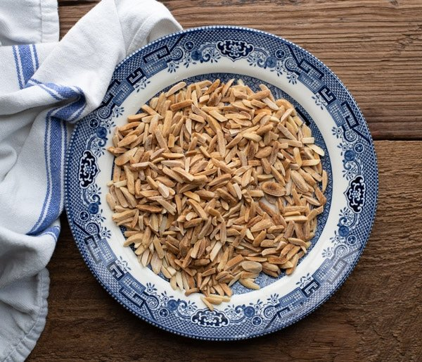 Toasted slivered almonds on a plate
