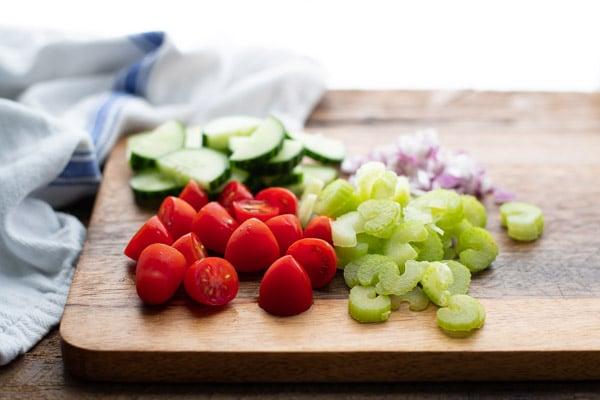 Chopped fresh vegetables on a cutting board