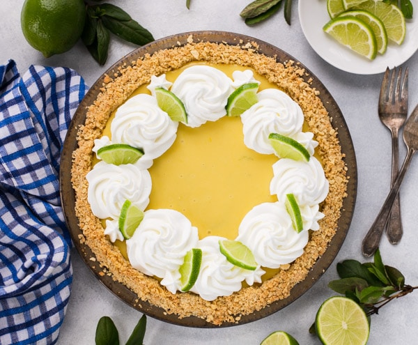 Horizontal overhead shot of an easy key lime pie recipe
