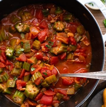 Overhead image of the best okra and tomatoes recipe in a Dutch oven