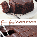 Long collage image of one bowl buttermilk chocolate cake