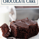 Side shot of a slice of buttermilk chocolate cake with text title box at top