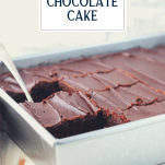 One bowl chocolate cake in a pan with text title overlay