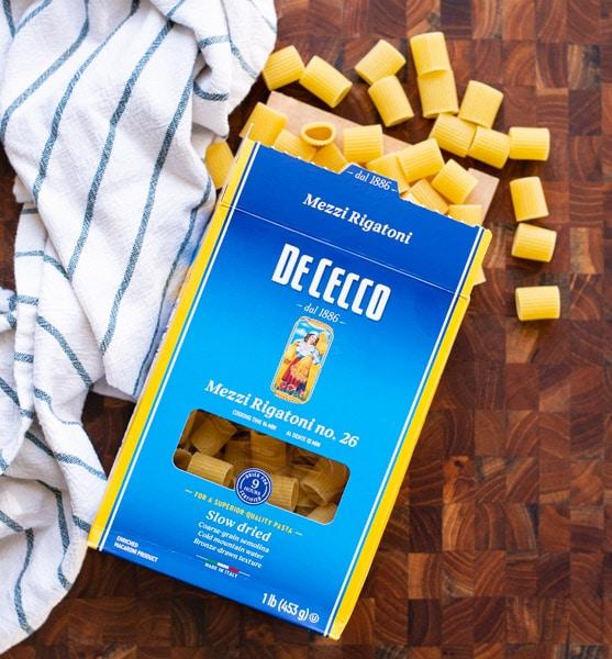 Box of mezzi rigatoni pasta