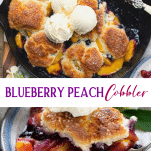 Long collage image of Peach Blueberry Cobbler