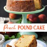 Long collage image of georgia peach pound cake
