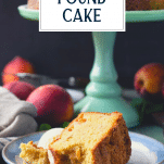 Slice of pound cake on a plate with text title overlay