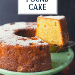 Serving a slice of peach pound cake with text title overlay