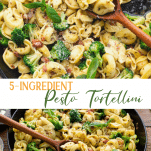 Long collage image of Pesto Tortellini with pancetta and broccoli