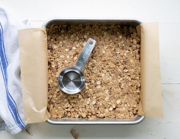 Pressing down shortbread crust