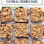 Overhead shot of raspberry crumble bars on a white board with text title box at top