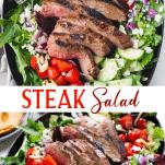 Long collage image of steak salad
