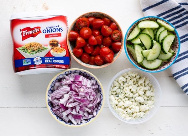 Overhead shot of ingredients for steak salad recipe