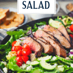 Side shot of grilled steak salad with text title overlay