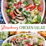 Long collage image of strawberry chicken salad with poppy seed dressing
