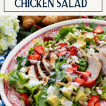 Rotisserie chicken salad with strawberries and text title box at top
