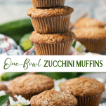 Long collage image of Zucchini Muffins