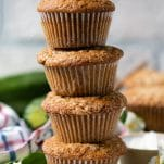 Close up shot of a stack of homemade easy zucchini muffins.