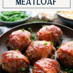 Side shot of a pan of bacon wrapped meatloaf with text title box at top