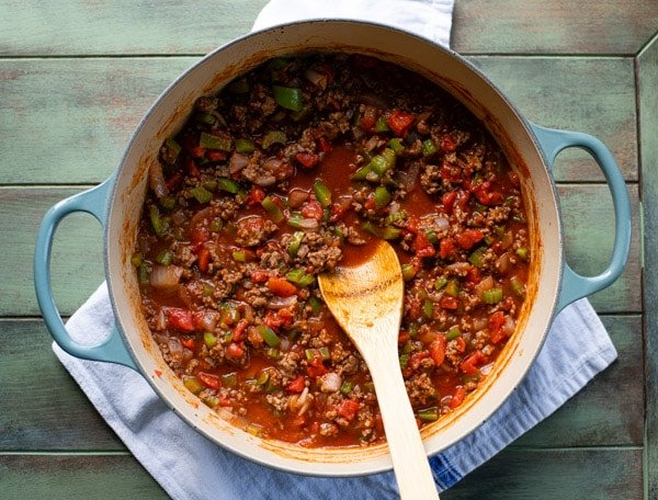 Ground beef tomato sauce in a Dutch oven