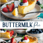 Long collage image of buttermilk pie