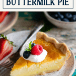 Southern buttermilk pie on a plate with text title box at top