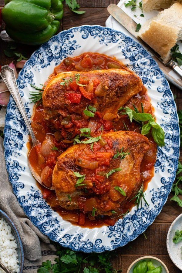 Overhead shot of a platter of Chicken Cacciatore.