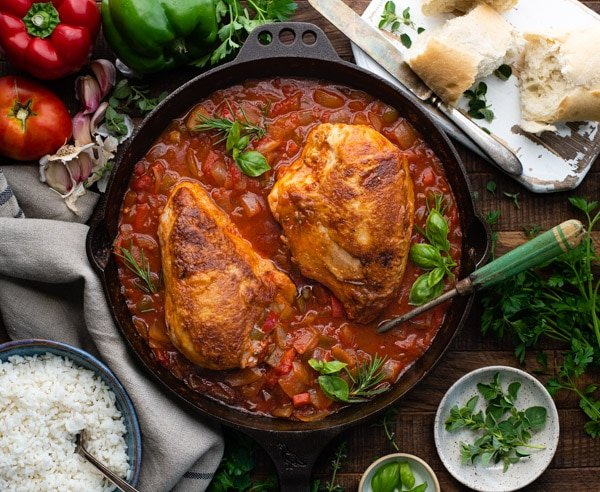 Overhead shot of Italian hunters chicken served with bread