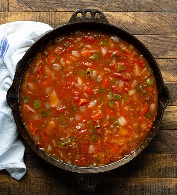 Tomato sauce in a skillet