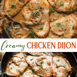 Long collage image of Creamy Chicken Dijon