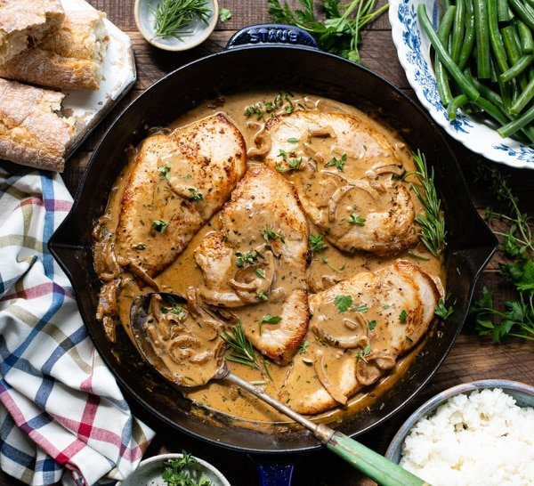 Overhead image of Dijon Chicken breast in a cast iron skillet
