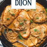 Close overhead shot of a pan of creamy chicken breast with Dijon sauce with text title overlay