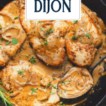 Pan of creamy Chicken Dijon with text title overlay