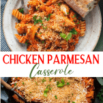 Long collage image of chicken parmesan casserole