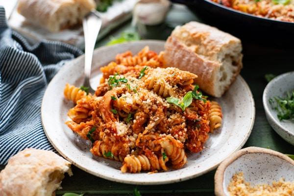 Horizontal side shot of a plate of chicken parmesan casserole