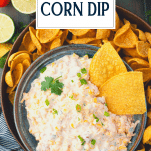 Overhead shot of chips in cold corn dip with rotel and text title overlay