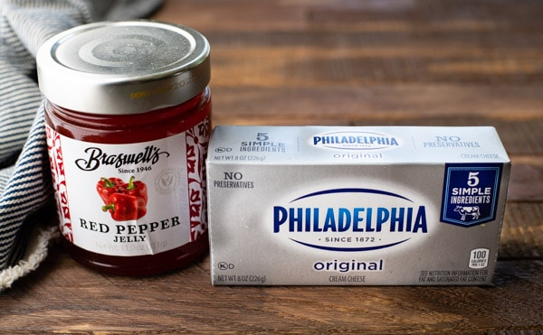 Ingredients for cream cheese and pepper jelly recipe