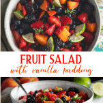 Long collage image of easy fruit salad with vanilla pudding