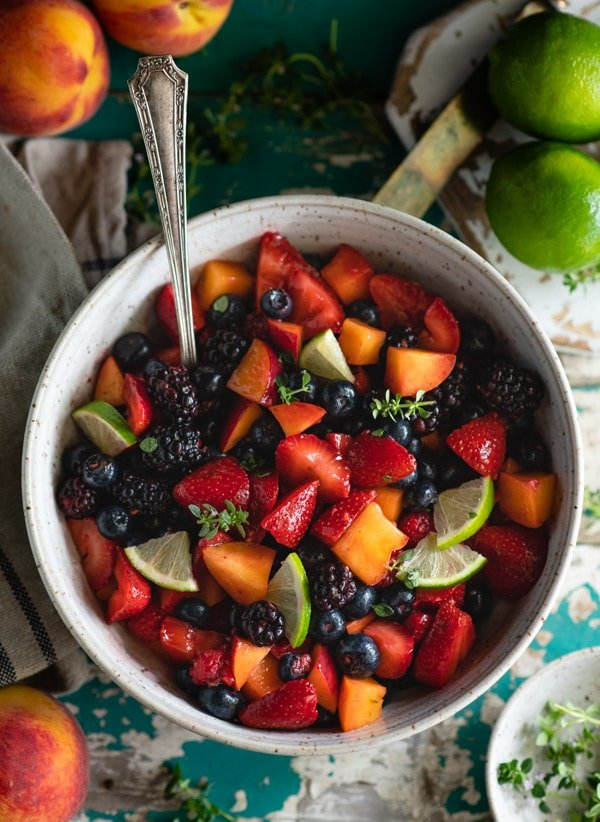 Overhead shot of a simple fruit salad recipe with vanilla pudding