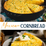 Long collage image of jalapeno cheddar mexican cornbread