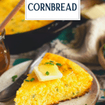Slice of jalapeno cheddar cornbread with text title overlay