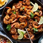 Overhead shot of a skillet full of spicy Mexican shrimp
